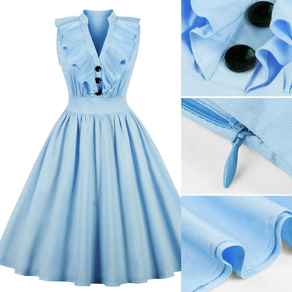 New-Woman-Lady-Vintage-Ruffle-Dress-Sleeveless-V-Neck-A-Line-Dress-S-2XL thumbnail 14