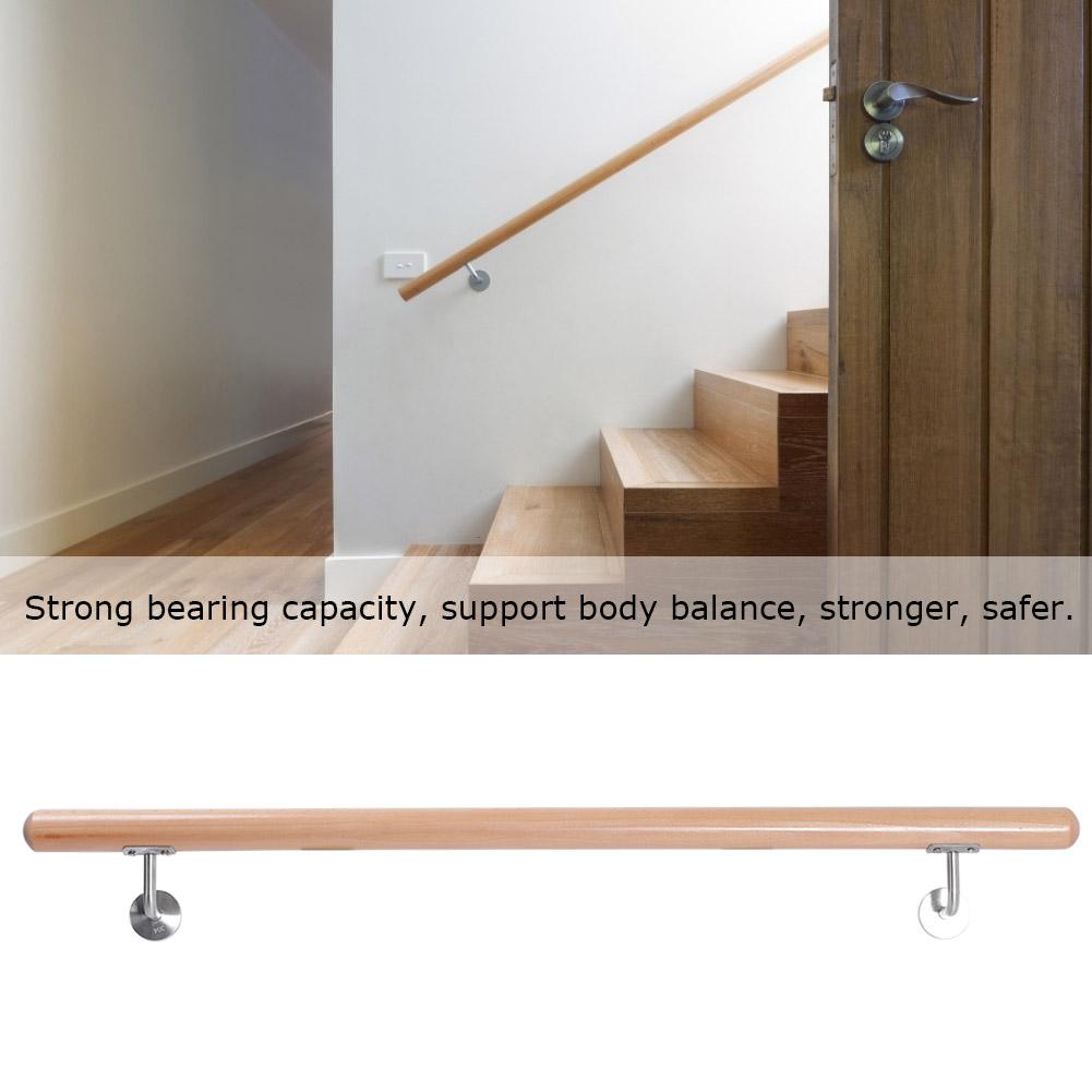 Rampe D Escalier Murale Bois ingshop© main courante en bois hêtre 100cm rampe d'escalier escaliers  poignée de sécurité