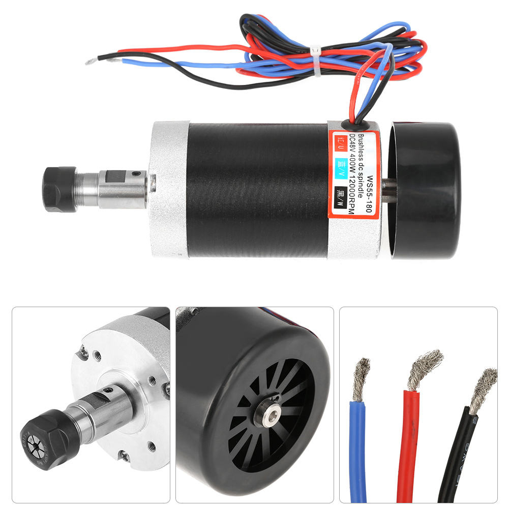 Ws55 180 400w high speed air cooling brushless dc spindle for High speed brushless dc motor