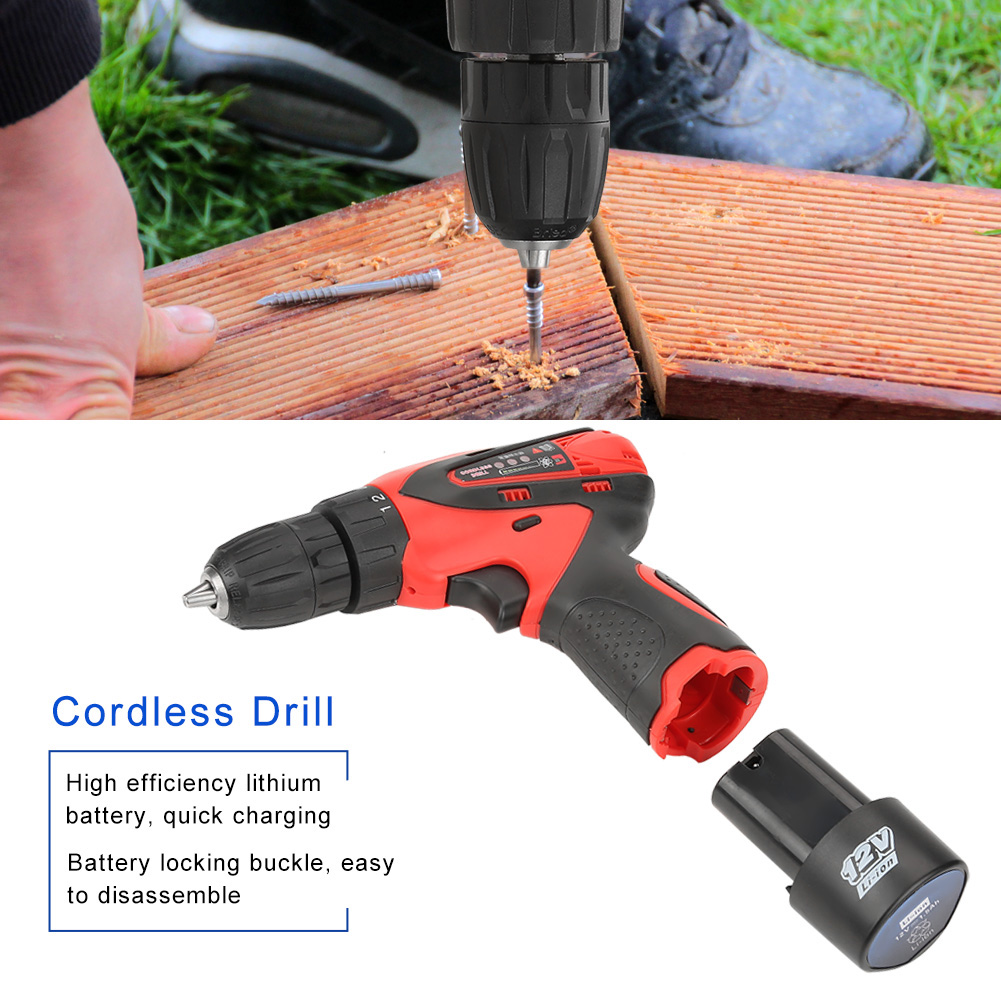 12v dual speed battery powered cordless power drill electric