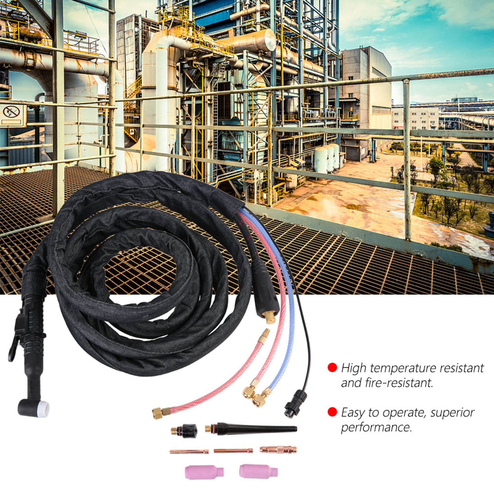 4M//8M Cable WP18 Tig Agon Arc Welding Torch Set Water Cooled Nut Connector GS