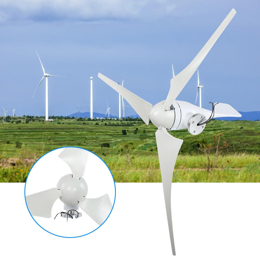 100W Wind Turbine Generator DC 12V 24V Nylon Fiber Wind 3 Blades Power Windmill