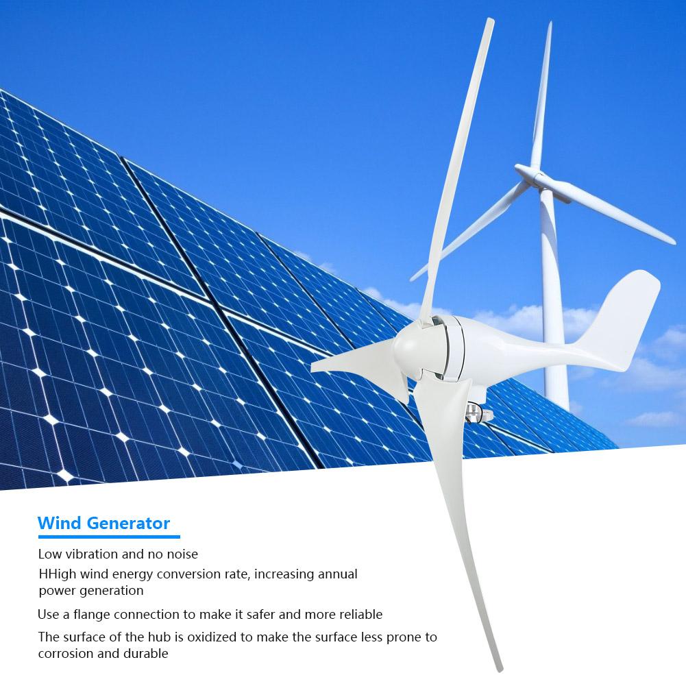 100W Wind Turbine Generator DC 12V 24V Nylon Fiber Wind 3 Blades Power Windmill 8