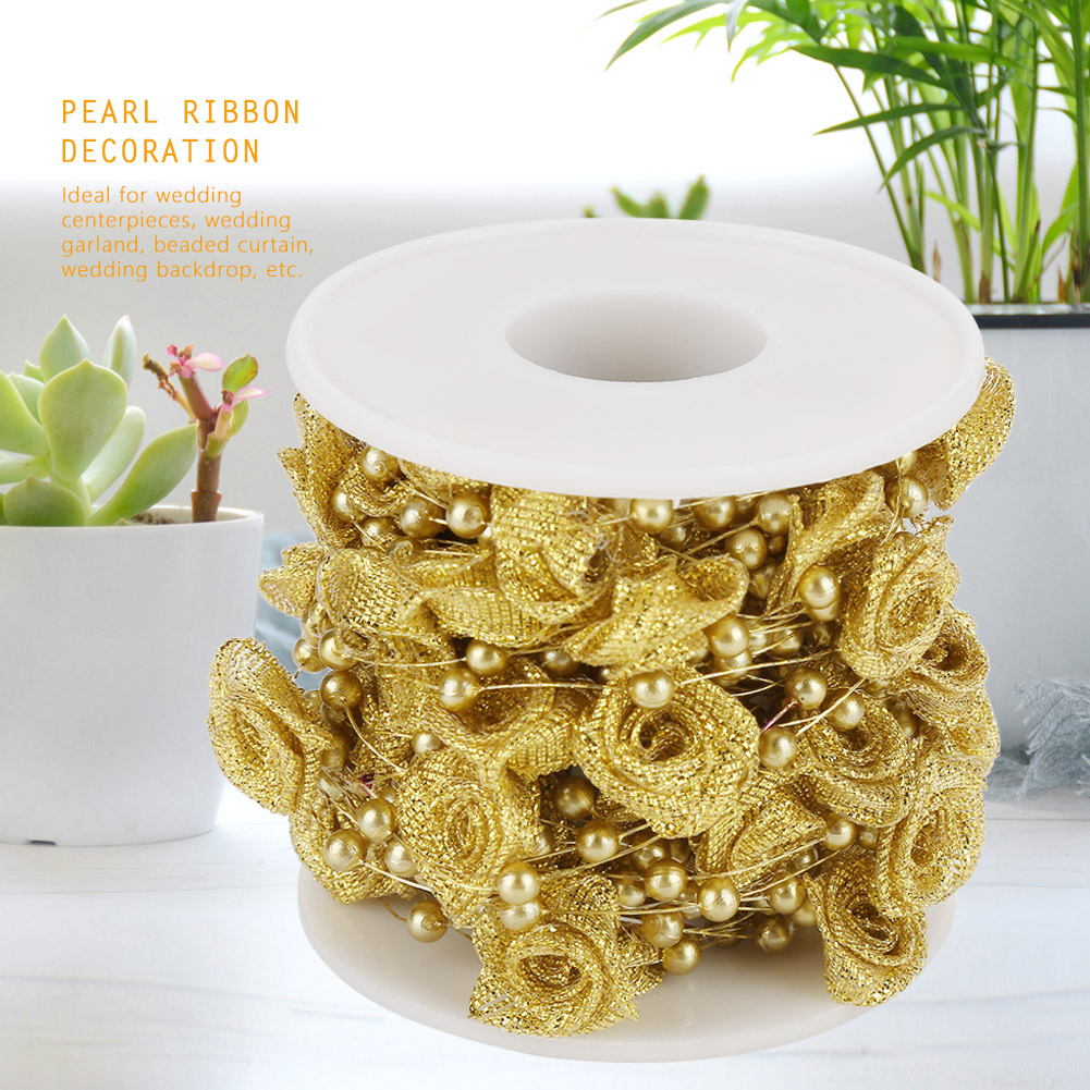 5m 10m 60m Fishing Line Pearls Chain Pearl Beads Chain: 10m Pearl Ribbon String Roll Garland DIY Wedding Party