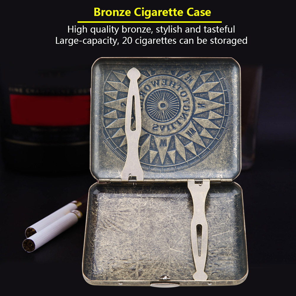Retro-Cigarette-Box-Case-Double-Sided-Pocket-Holder-for-20-Cigarettes-Gift thumbnail 30