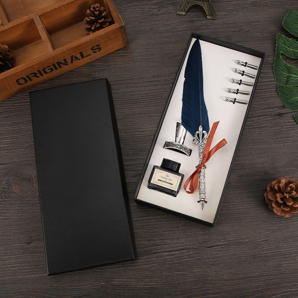 Retro Feather Dip Pen Writing Ink Set Quill Pen Fountain Pens Gift Box  #w