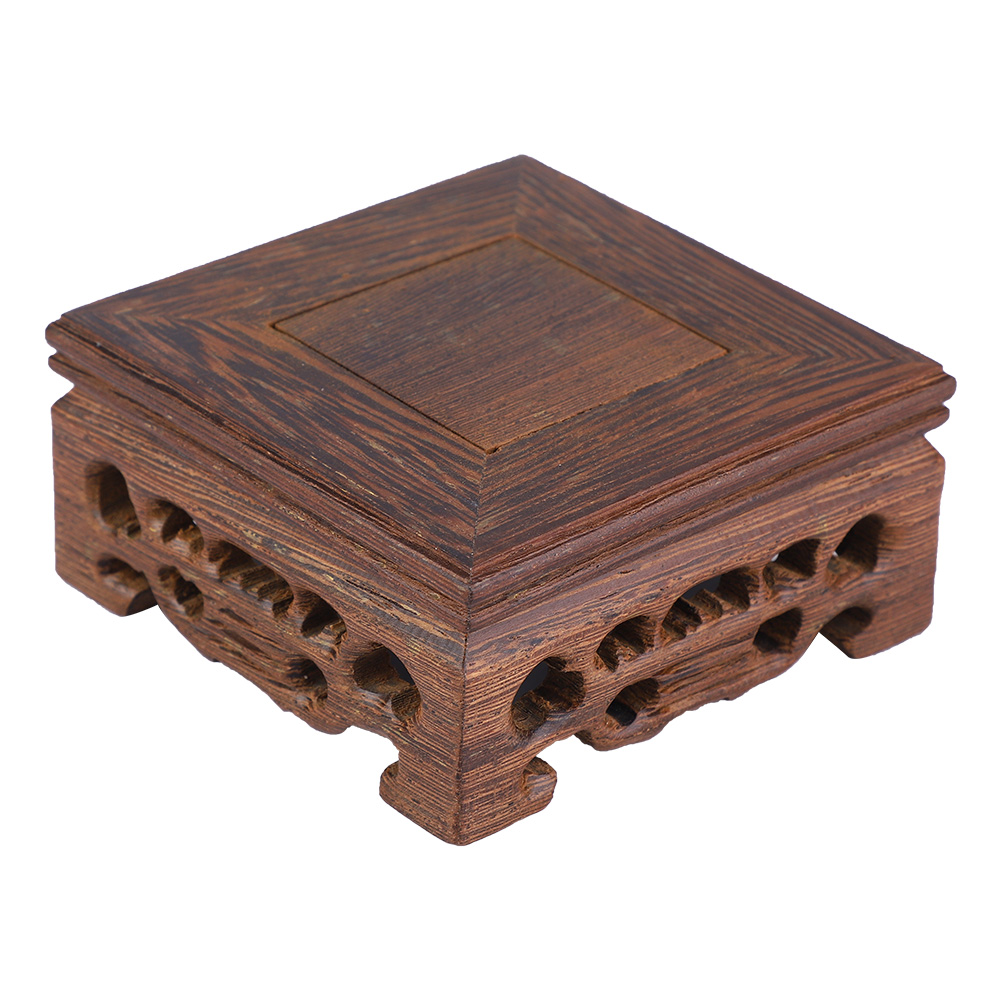 Chinese-Wood-Carving-Display-Stand-Pedestal-Square-Base-Pot-Statue-Holder thumbnail 10