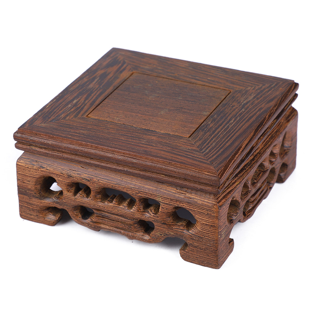 Chinese-Wood-Carving-Display-Stand-Pedestal-Square-Base-Pot-Statue-Holder thumbnail 11