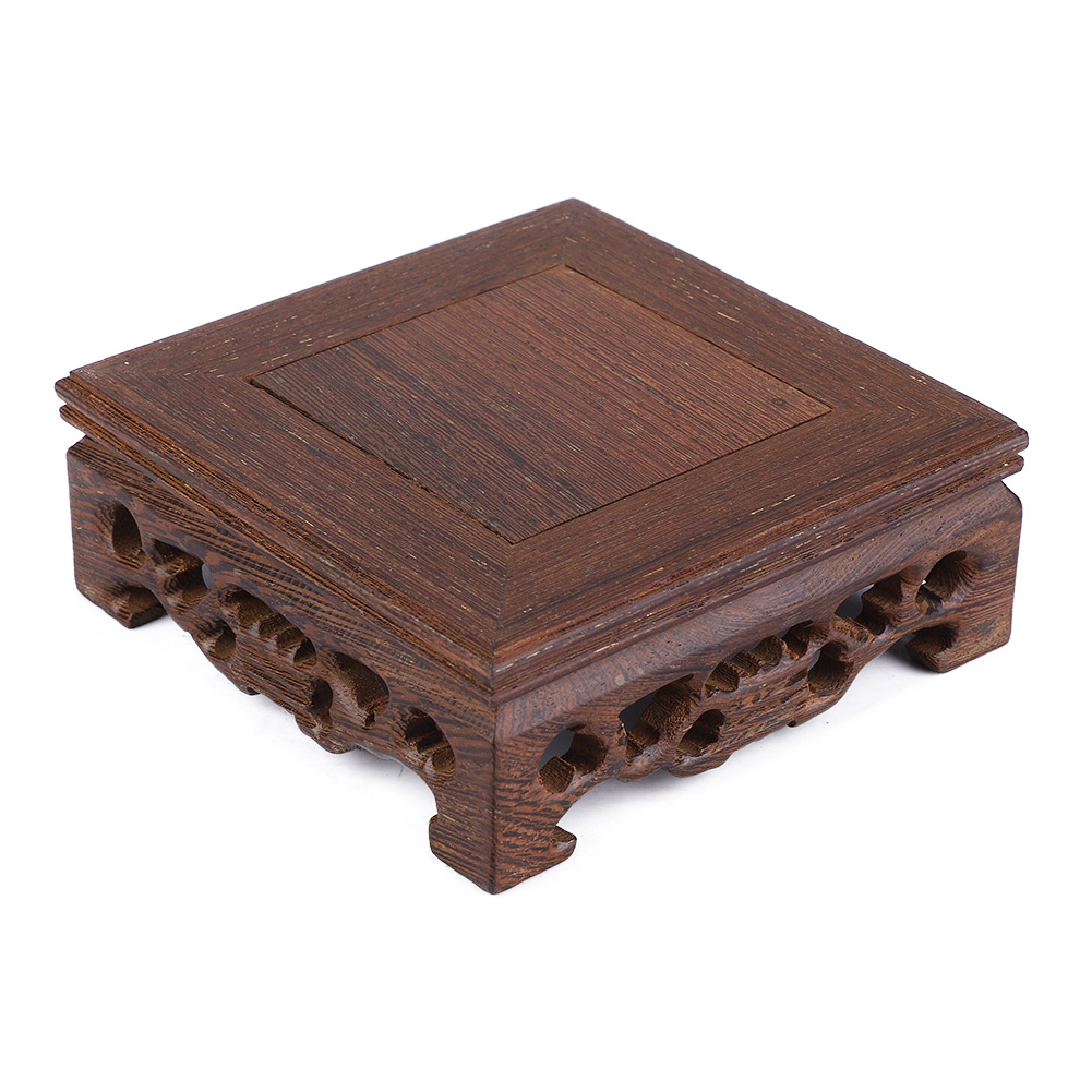 Chinese-Wood-Carving-Display-Stand-Pedestal-Square-Base-Pot-Statue-Holder thumbnail 13
