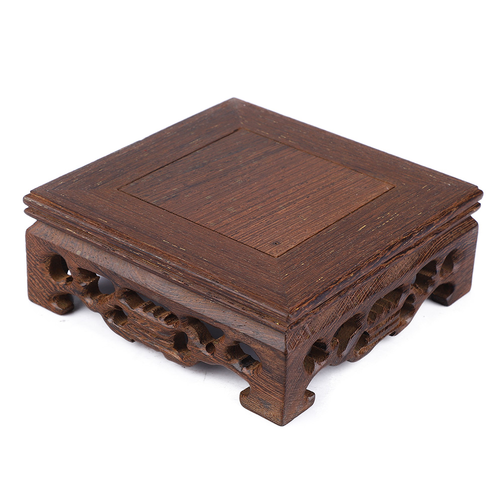 Chinese-Wood-Carving-Display-Stand-Pedestal-Square-Base-Pot-Statue-Holder thumbnail 14