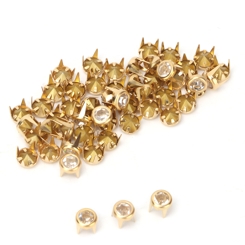 6-7-8-10mm-Rhinestone-Diamond-Crystal-Rivets-Studs-Leather-For-Bags-Shoe-Decor miniature 50