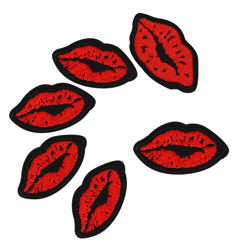 LIPS MOUTH TEETH EMBROIDERED APPLIQUÉ PATCH SEW OR IRON ON NOVELTY #439