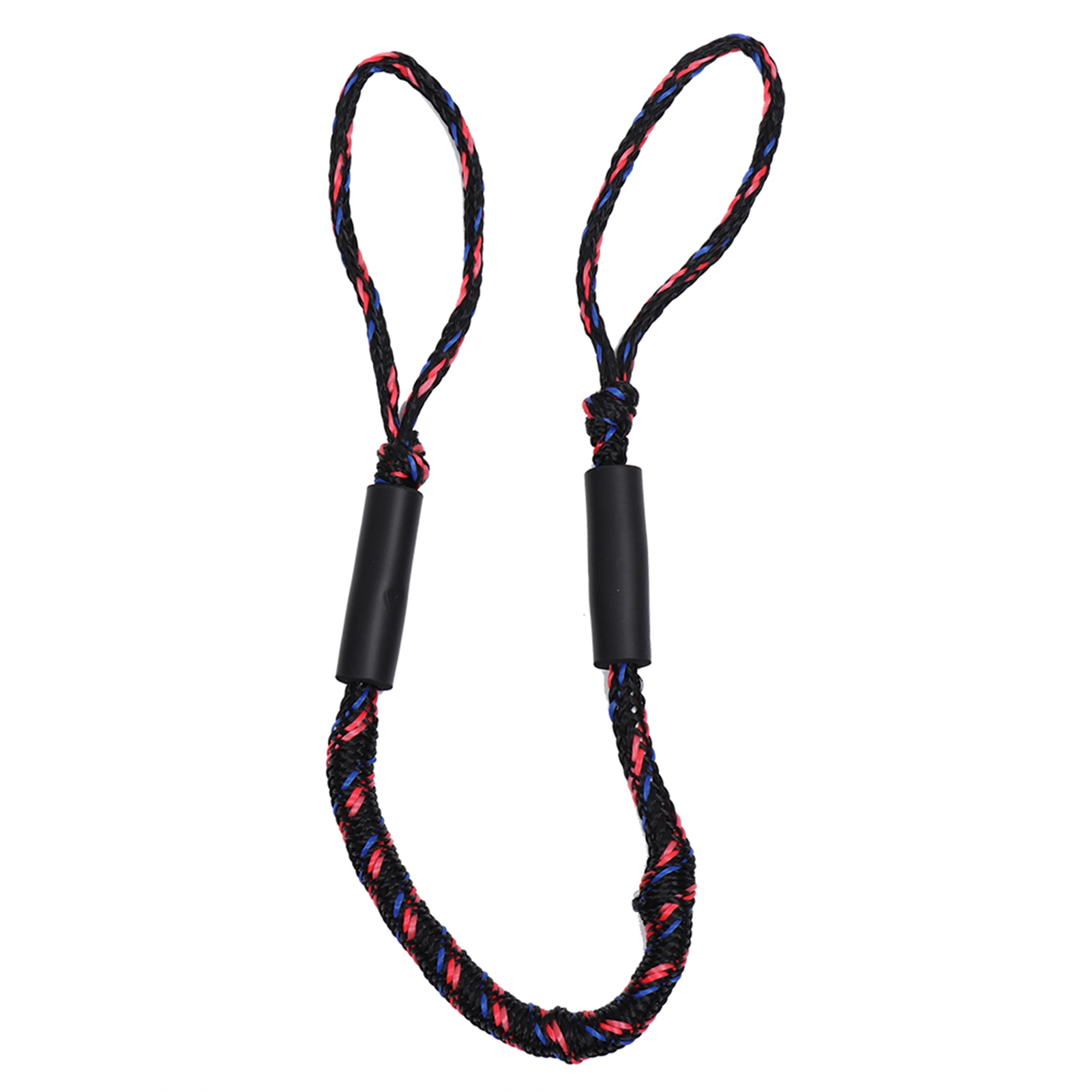 2Pcs 3.5-5.5 ft Bungee Dock Line Mooring Stretch Rope for Boat Red Black Wave