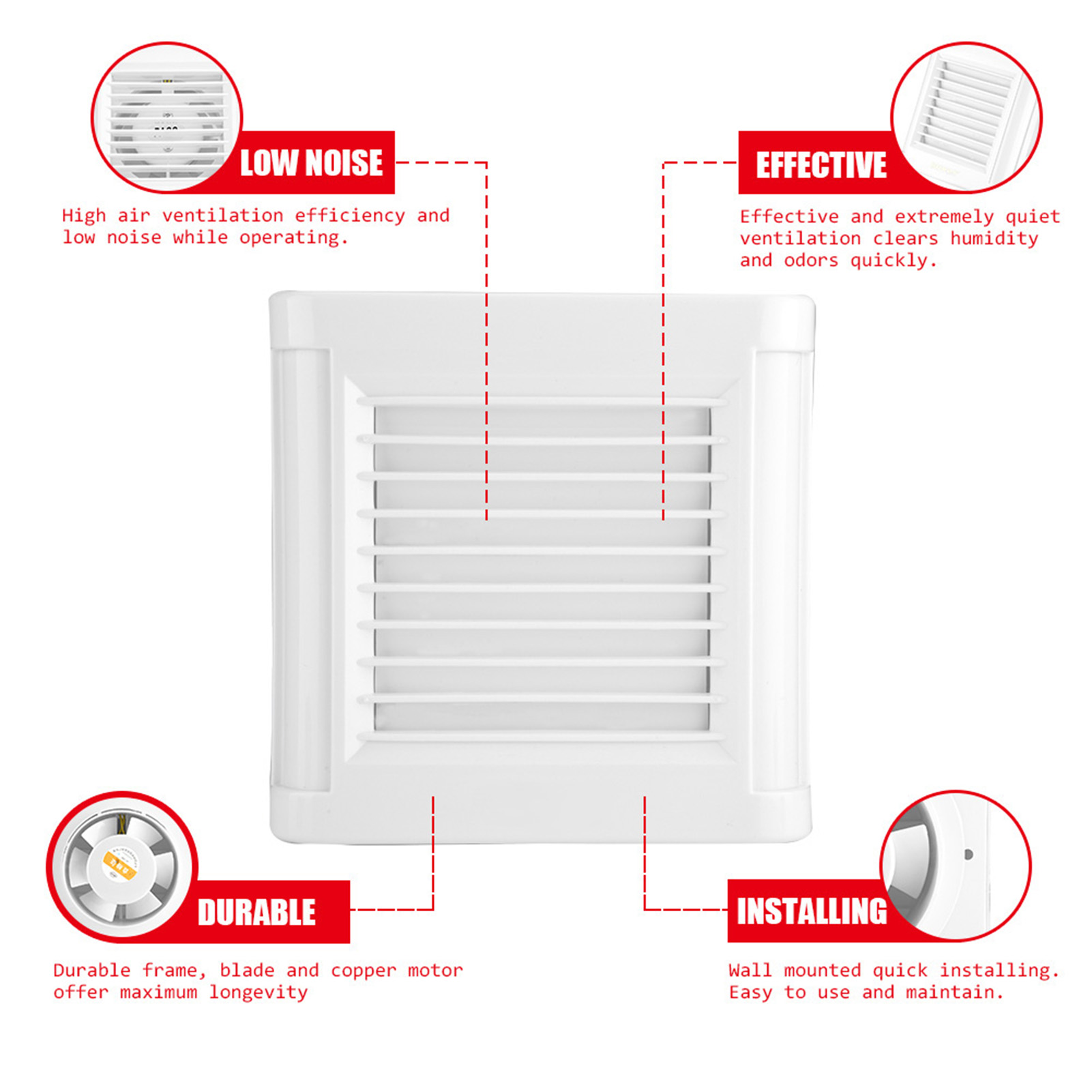 15W Wall Mounted Exhaust Fan Low Noise Air Vent Ventilation