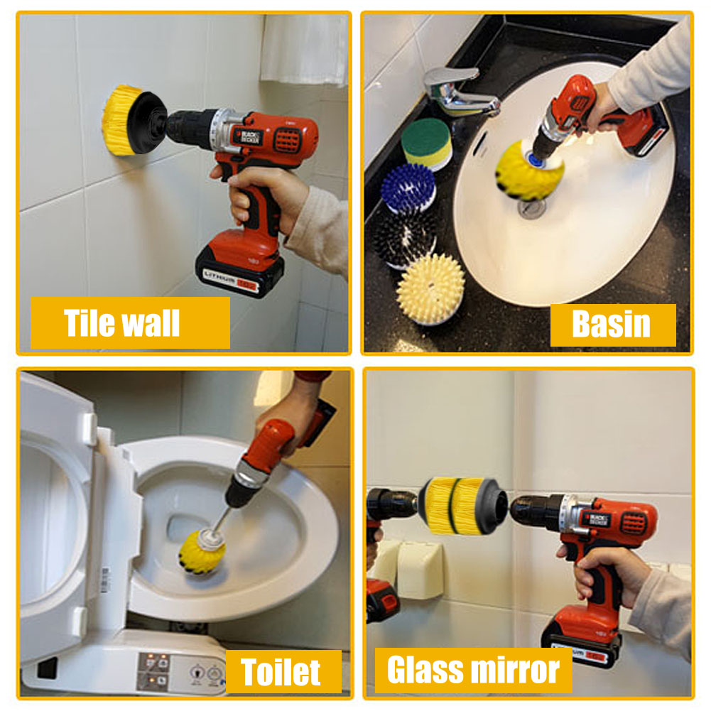 3pcs Set Tile Grout Power Scrubber Cleaning Drill Brush