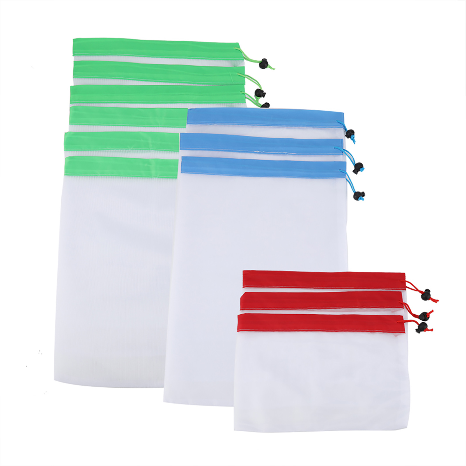 10//11//12pcs Reusable Mesh Bags Produce Drawstring Lightweight Washable for Snack