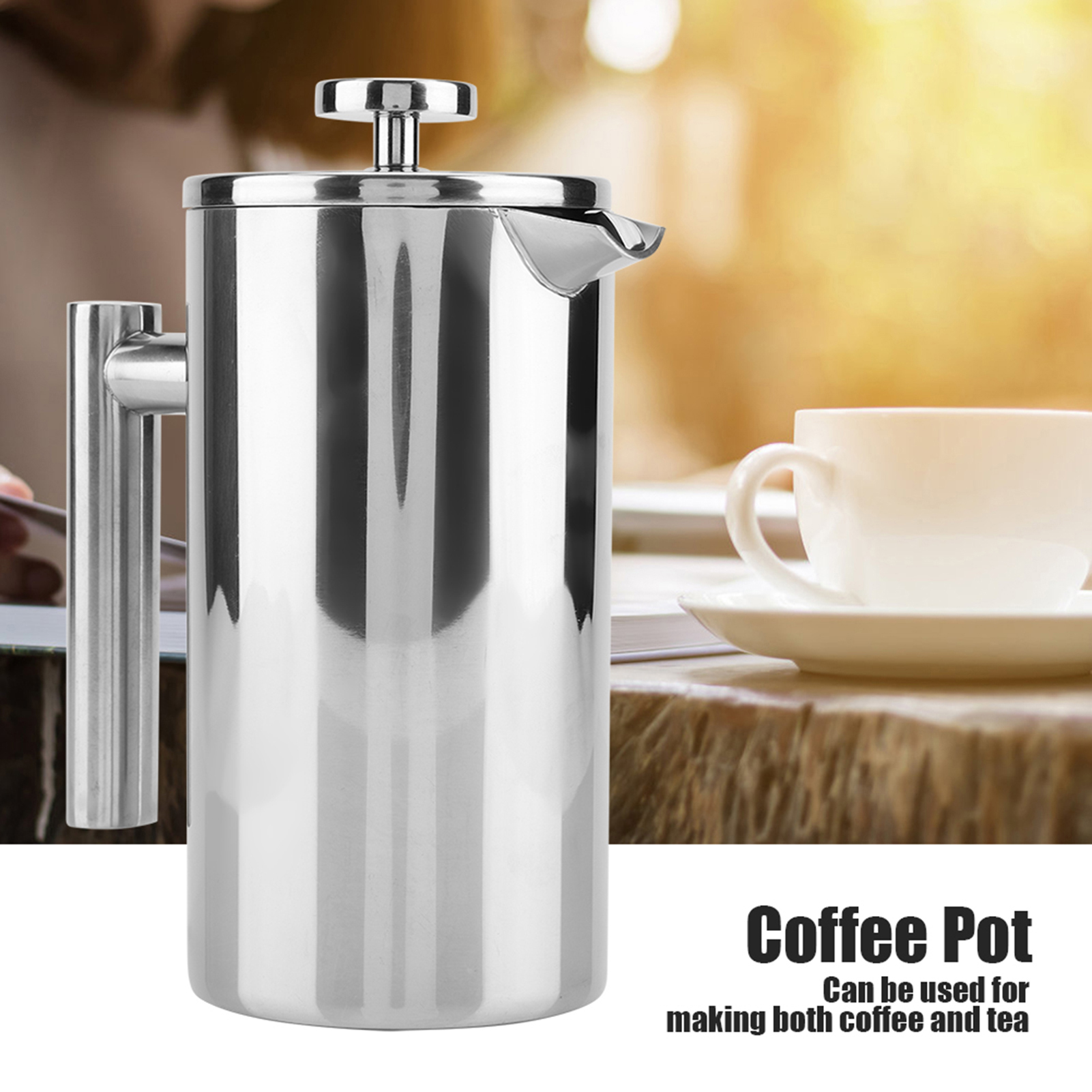 double walled 304 stainless steel coffee maker french press tea pot with filter ebay. Black Bedroom Furniture Sets. Home Design Ideas