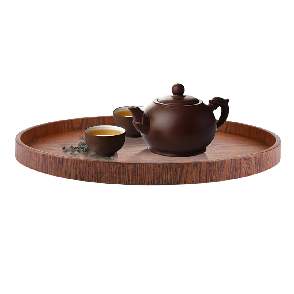 Solid Wood Serving Tray Food Tea Table Bread Tray Coffee Plate Rectangle//Round