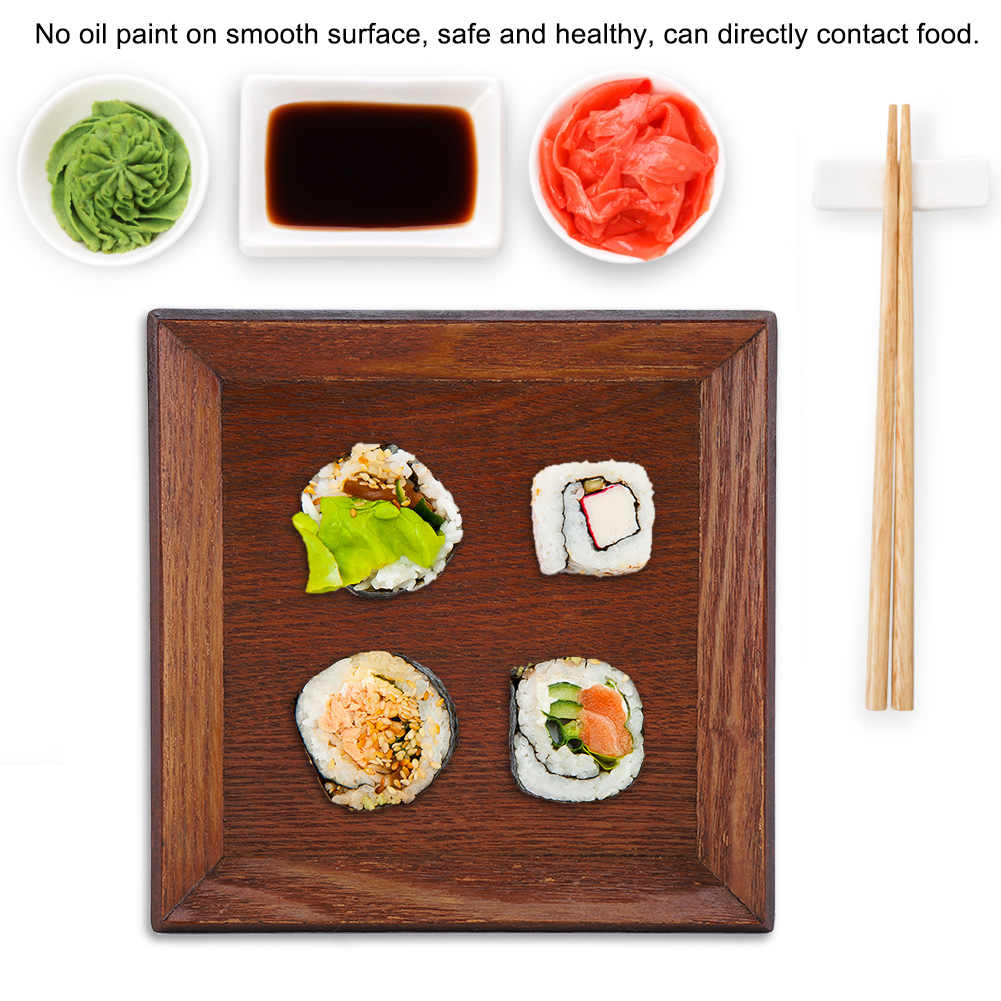 Wooden-Serving-Plate-Dumplings-Sushi-Dish-Plate-Wood-Square-Oblong-Serving-Tray thumbnail 14