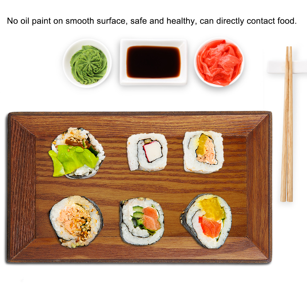 Wooden-Serving-Plate-Dumplings-Sushi-Dish-Plate-Wood-Square-Oblong-Serving-Tray thumbnail 23