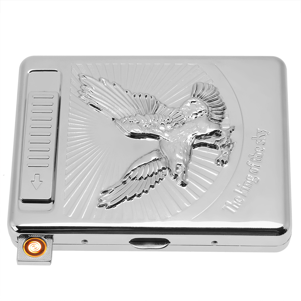 2-in-1-Windproof-Cigarette-Case-Holder-With-USB-Lighter-Electronic-Rechargeable thumbnail 18