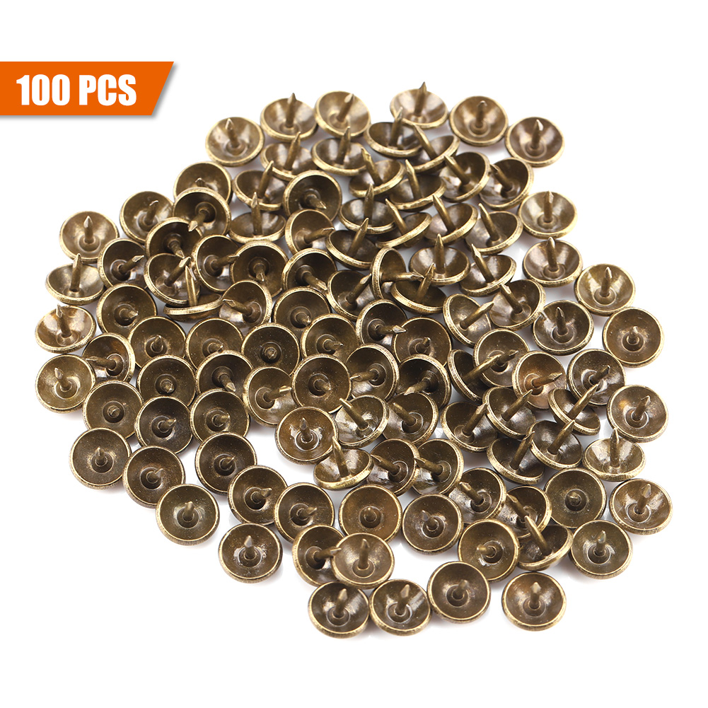 100 Pcs Antique Brass Round Head Upholstery Sofa Nail
