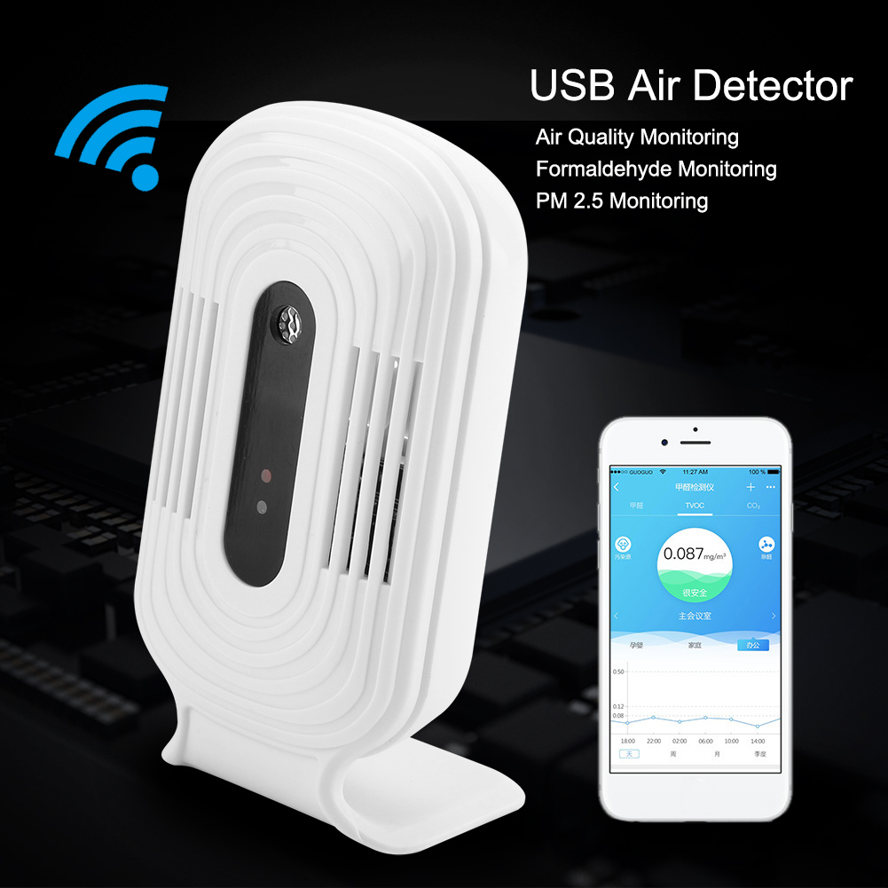 Smart Wifi Air Quality Tester USB HCHO Gas Detector TVOC Monitor CO2 Analyzer