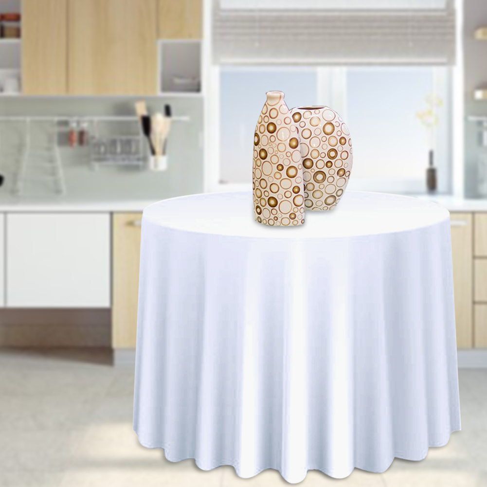 Round-Tablecloth-Polyester-Wedding-Banquet-Party-Table-Cover-Cloth-Decoration thumbnail 15