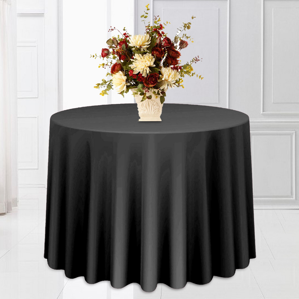 Round-Tablecloth-Polyester-Wedding-Banquet-Party-Table-Cover-Cloth-Decoration thumbnail 17