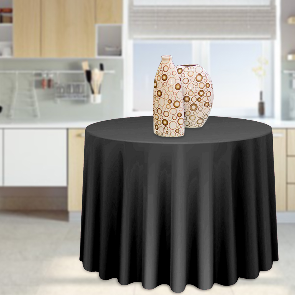 Round-Tablecloth-Polyester-Wedding-Banquet-Party-Table-Cover-Cloth-Decoration thumbnail 18