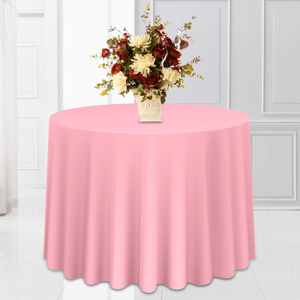 Round-Tablecloth-Polyester-Wedding-Banquet-Party-Table-Cover-Cloth-Decoration thumbnail 20