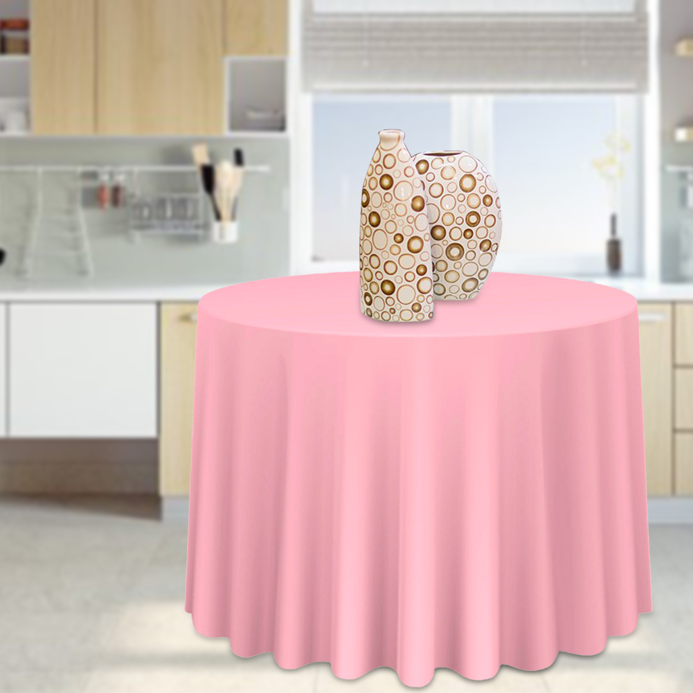 Round-Tablecloth-Polyester-Wedding-Banquet-Party-Table-Cover-Cloth-Decoration thumbnail 21