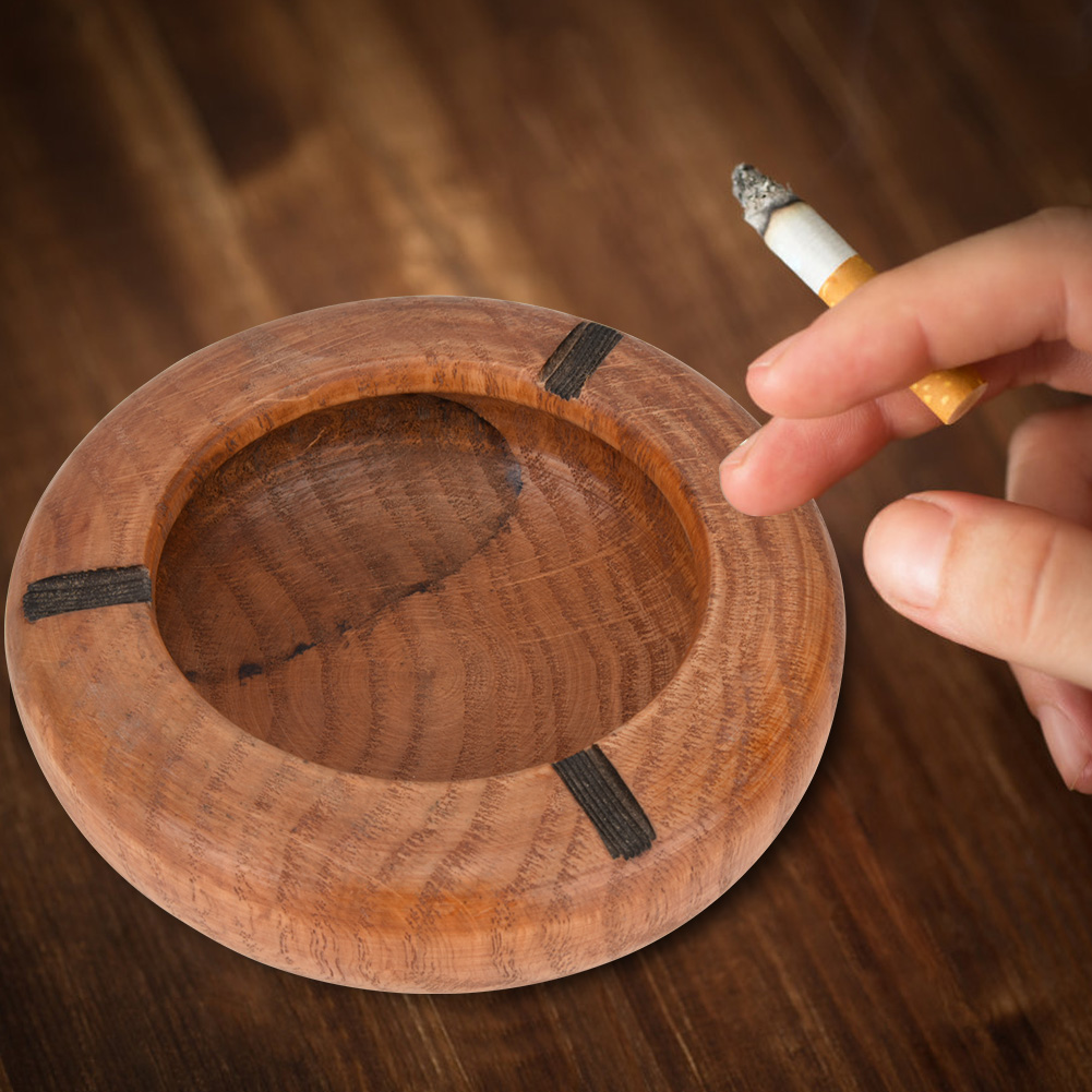 Round-Original-Wooden-Cigarette-Ashtray-Three-Cigarette-Rests-Table-Decoration miniatura 17