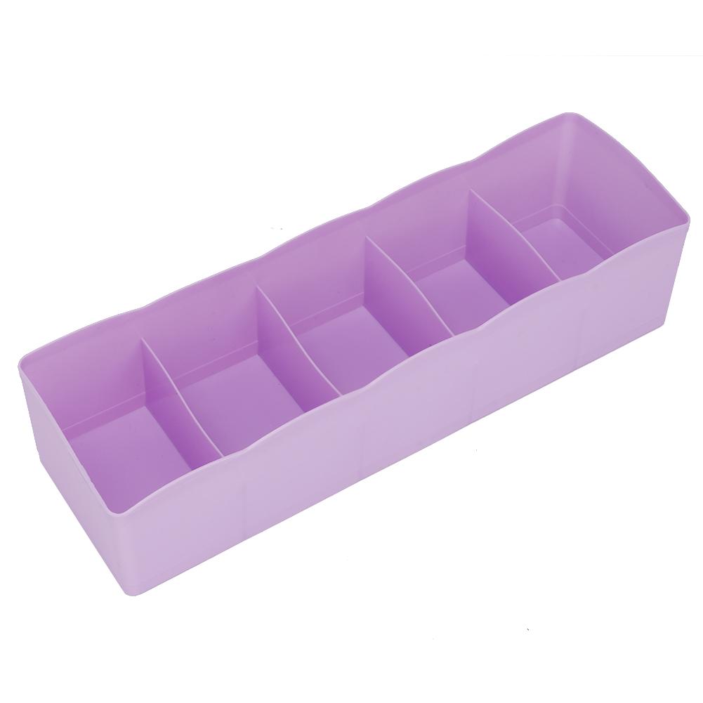 Plastic-Drawer-Organizer-Bra-Underwear-Socks-Storage-Basket-With-5-Grids thumbnail 20