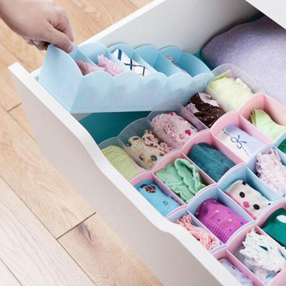 Plastic-Drawer-Organizer-Bra-Underwear-Socks-Storage-Basket-With-5-Grids thumbnail 21