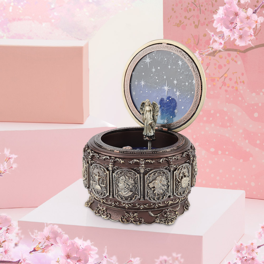 Vintage-Music-Box-with-12-Constellations-Rotating-Goddess-Twinkling-LED-Light thumbnail 15