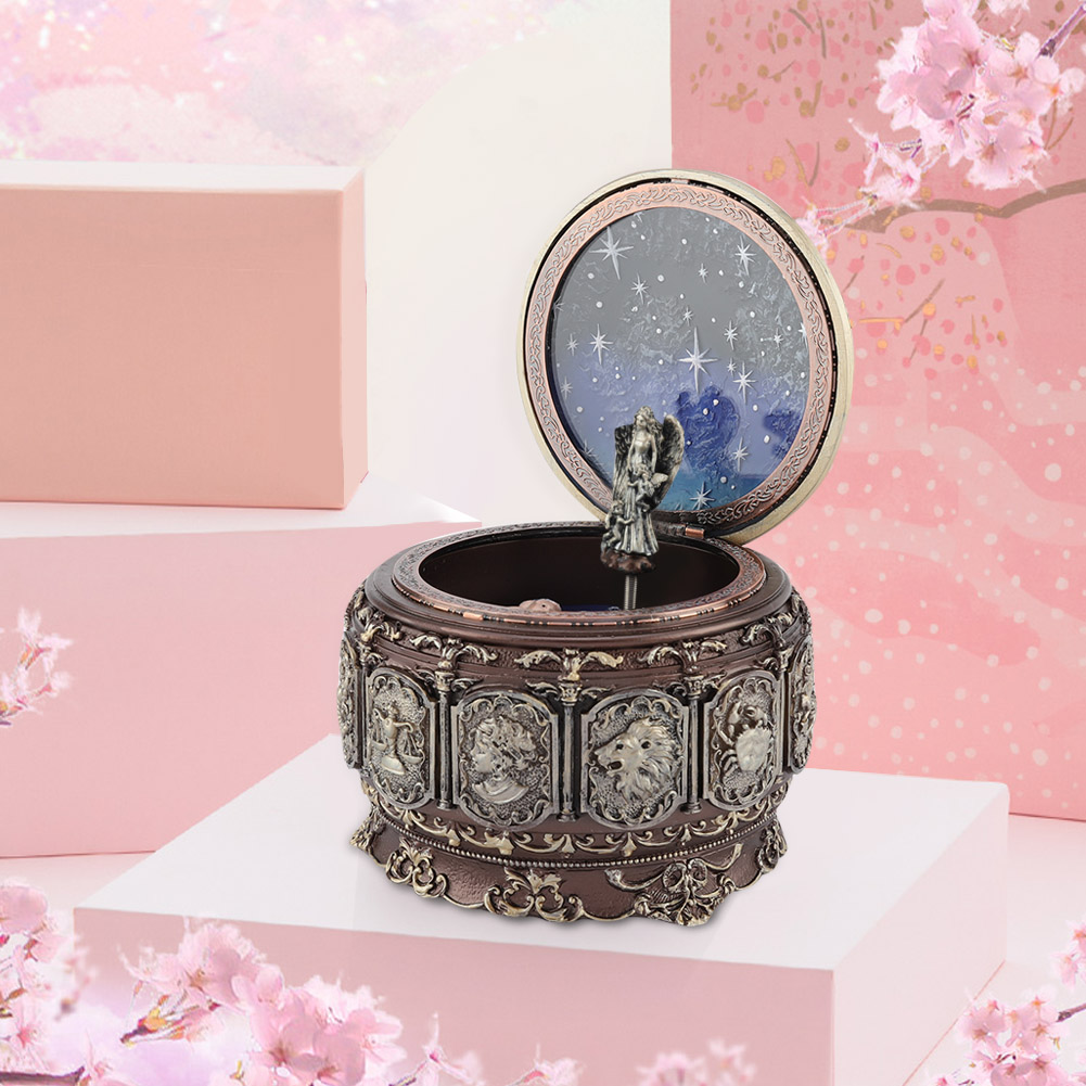 Vintage-Music-Box-with-12-Constellations-Rotating-Goddess-Twinkling-LED-Light thumbnail 21