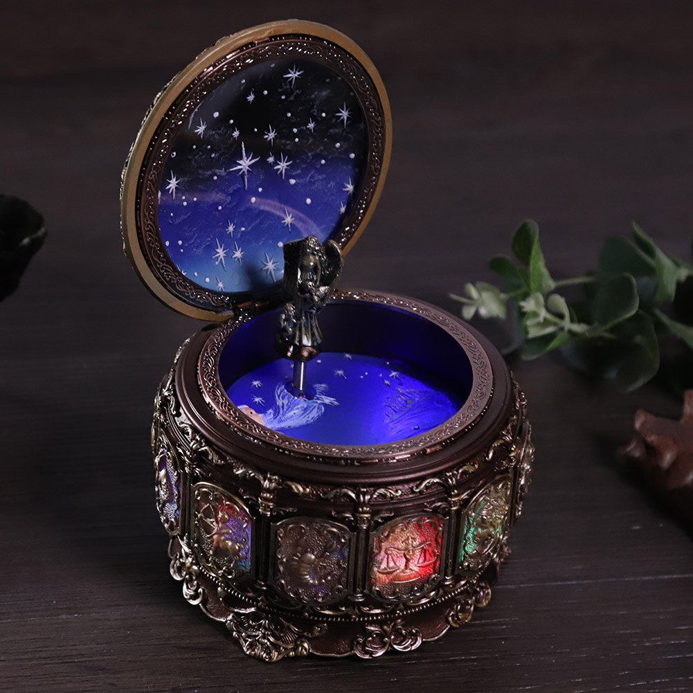 Vintage-Music-Box-with-12-Constellations-Rotating-Goddess-Twinkling-LED-Light thumbnail 19