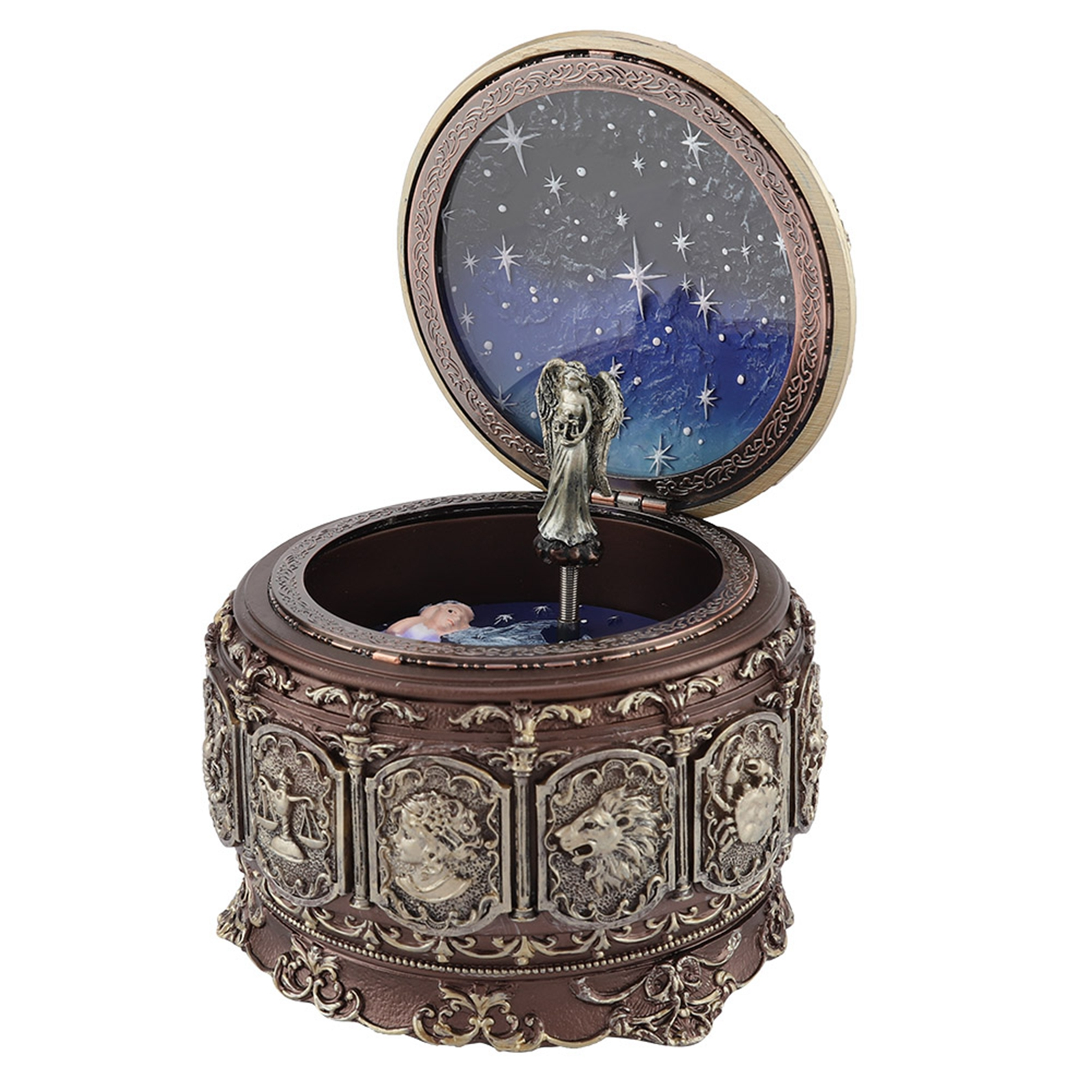 Vintage-Music-Box-with-12-Constellations-Rotating-Goddess-Twinkling-LED-Light thumbnail 33