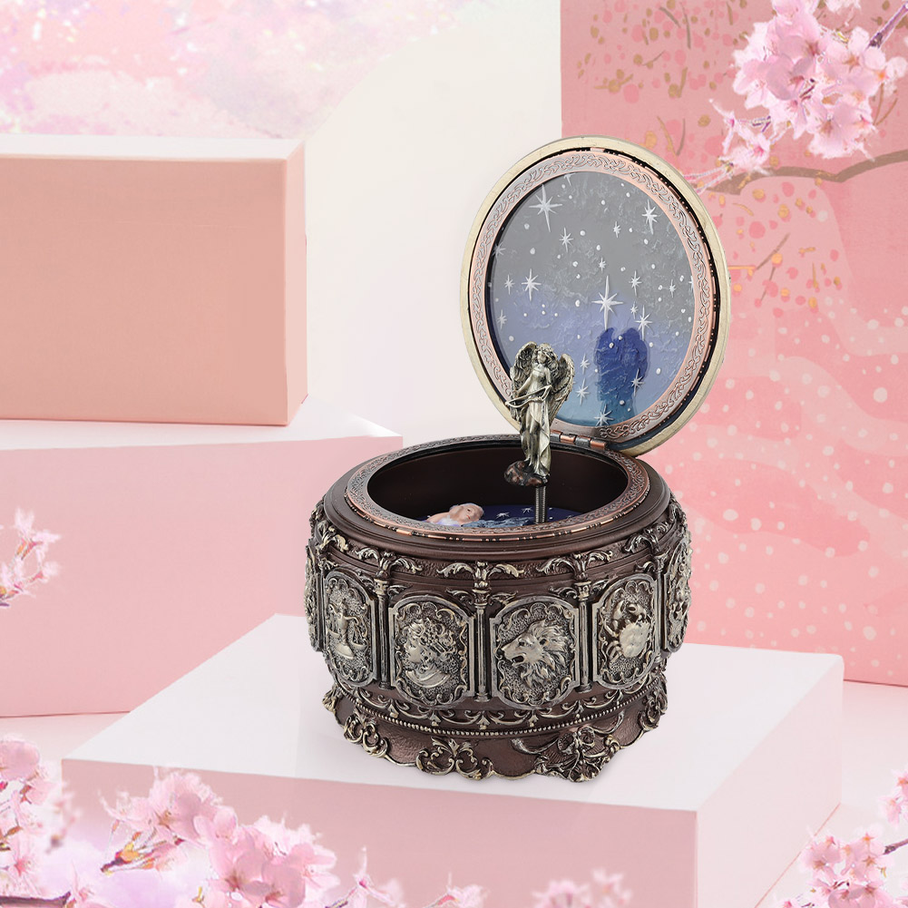 Vintage-Music-Box-with-12-Constellations-Rotating-Goddess-Twinkling-LED-Light thumbnail 39