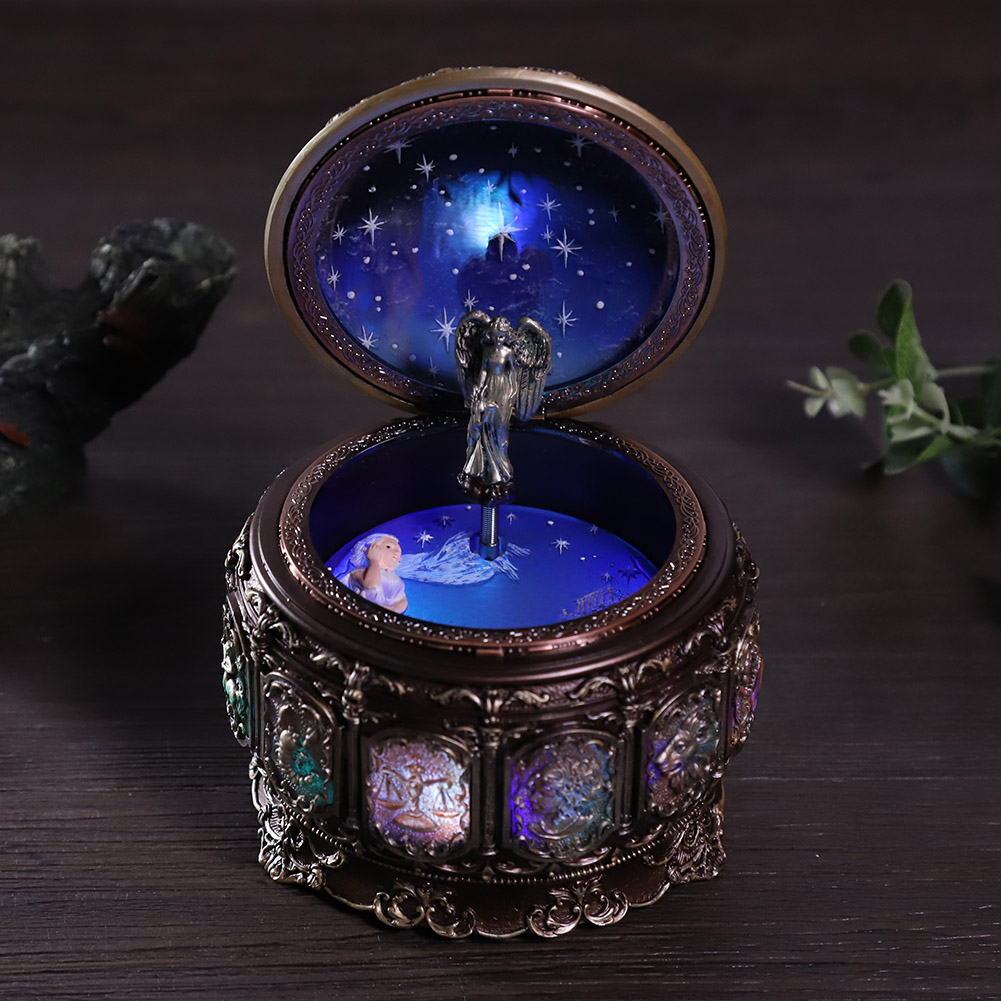 Vintage-Music-Box-with-12-Constellations-Rotating-Goddess-Twinkling-LED-Light thumbnail 40
