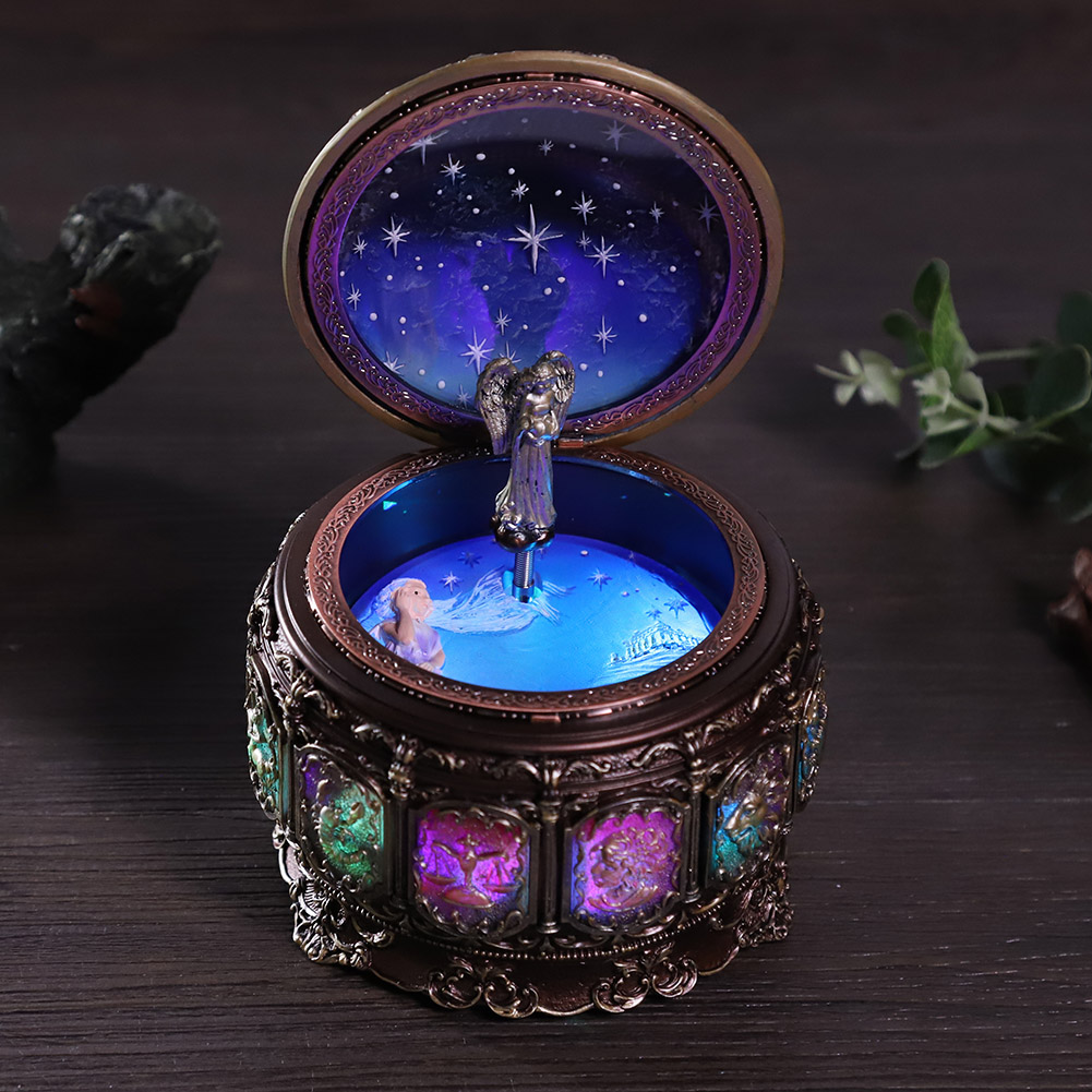 Vintage-Music-Box-with-12-Constellations-Rotating-Goddess-Twinkling-LED-Light thumbnail 43