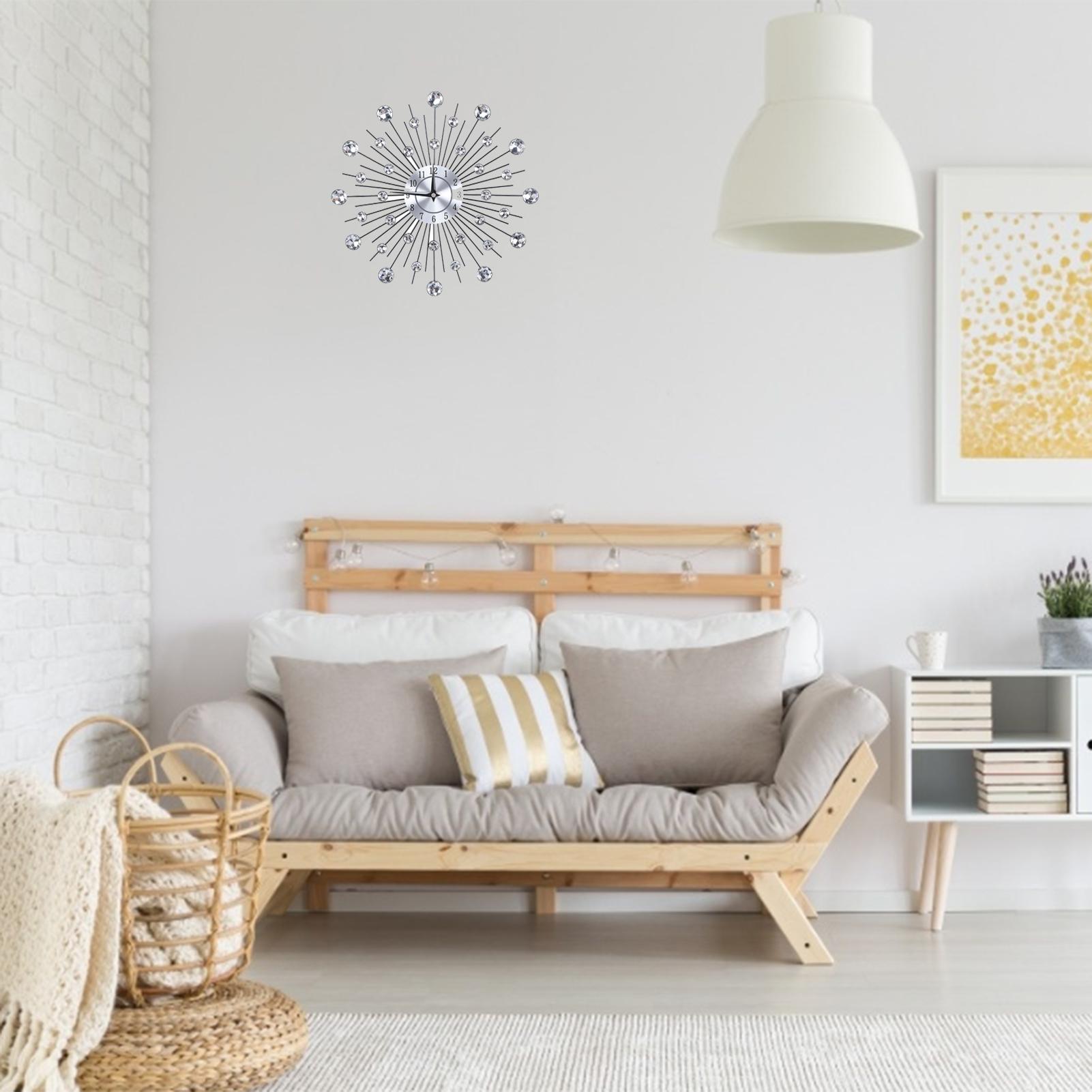 Sparkling-Bling-Metallic-DIY-Flower-Shaped-Wall-Clock-for-Living-Room-Office miniature 14