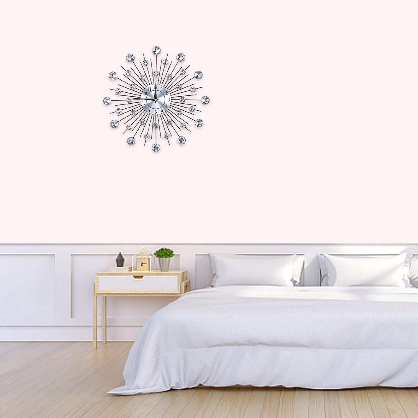 Sparkling-Bling-Metallic-DIY-Flower-Shaped-Wall-Clock-for-Living-Room-Office miniature 15