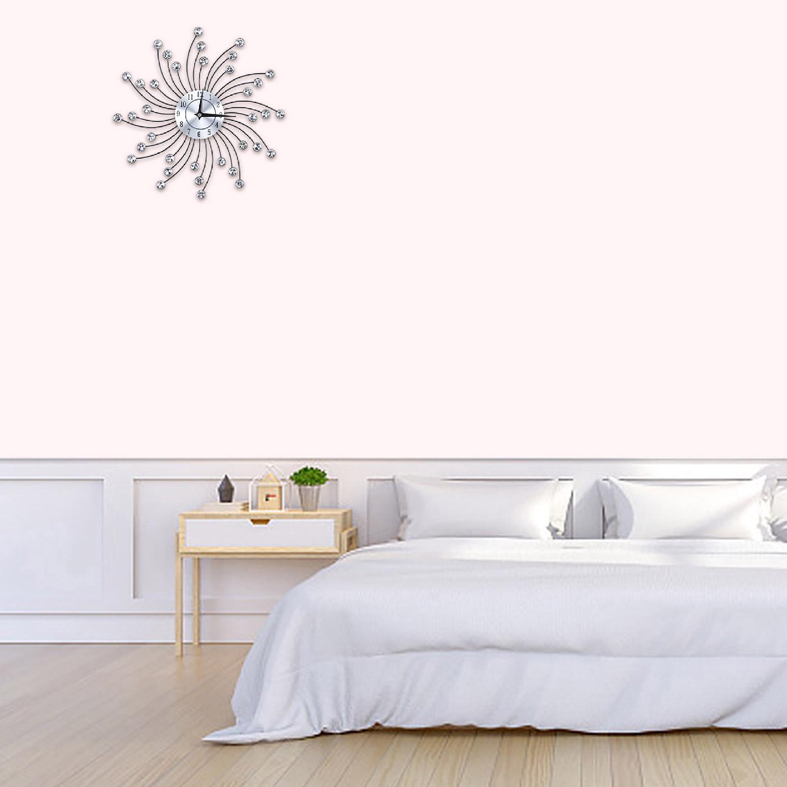 Sparkling-Bling-Metallic-DIY-Flower-Shaped-Wall-Clock-for-Living-Room-Office miniature 18
