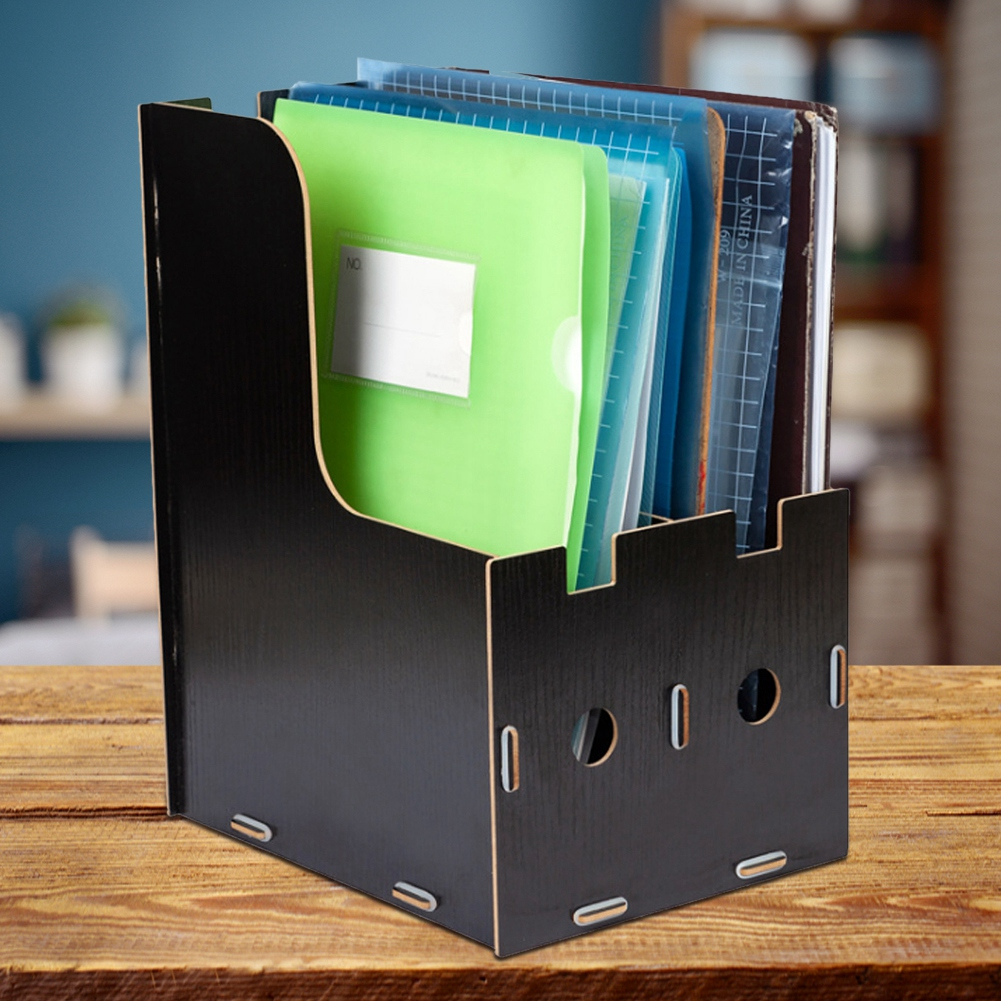 File-Organizer-Wooden-Magazine-Book-File-Stand-Desk-File-Sorter-Storage-Boxes thumbnail 10