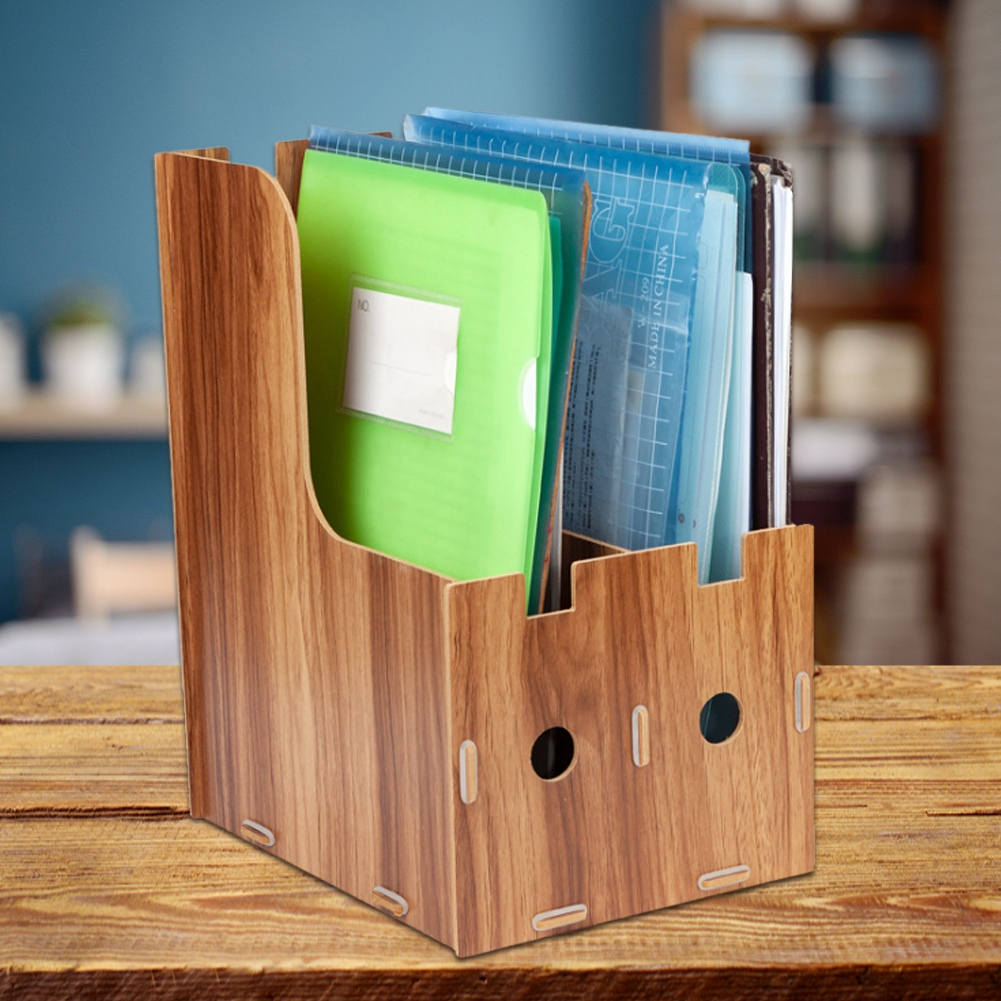File-Organizer-Wooden-Magazine-Book-File-Stand-Desk-File-Sorter-Storage-Boxes thumbnail 13