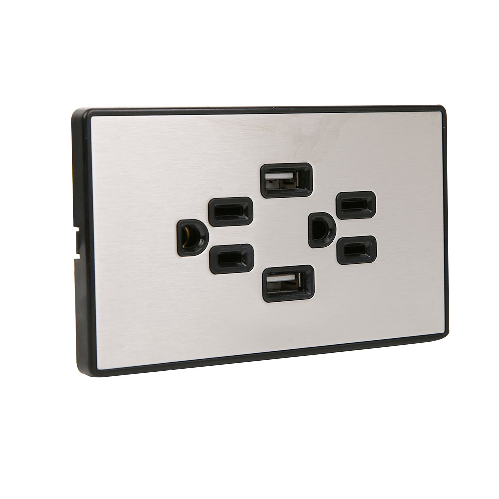 125V-15A-Electrical-Outlet-Panel-Dual-USB-wall-charger-port-Socket-Power-Adapter thumbnail 21