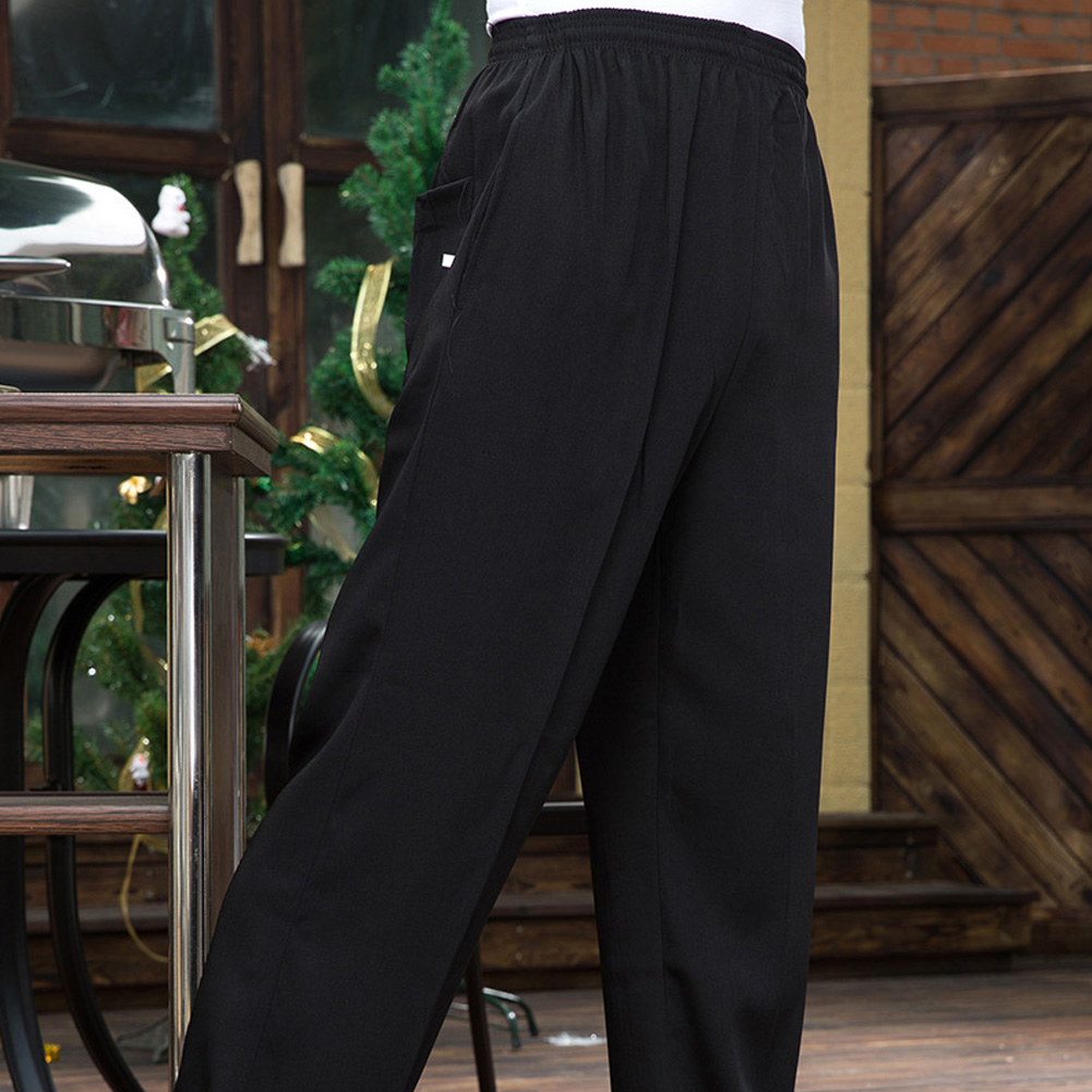 Details About Chef Work Pants Kitchen Elastic Trousers Restaurant Staff Black Uniform Slacks