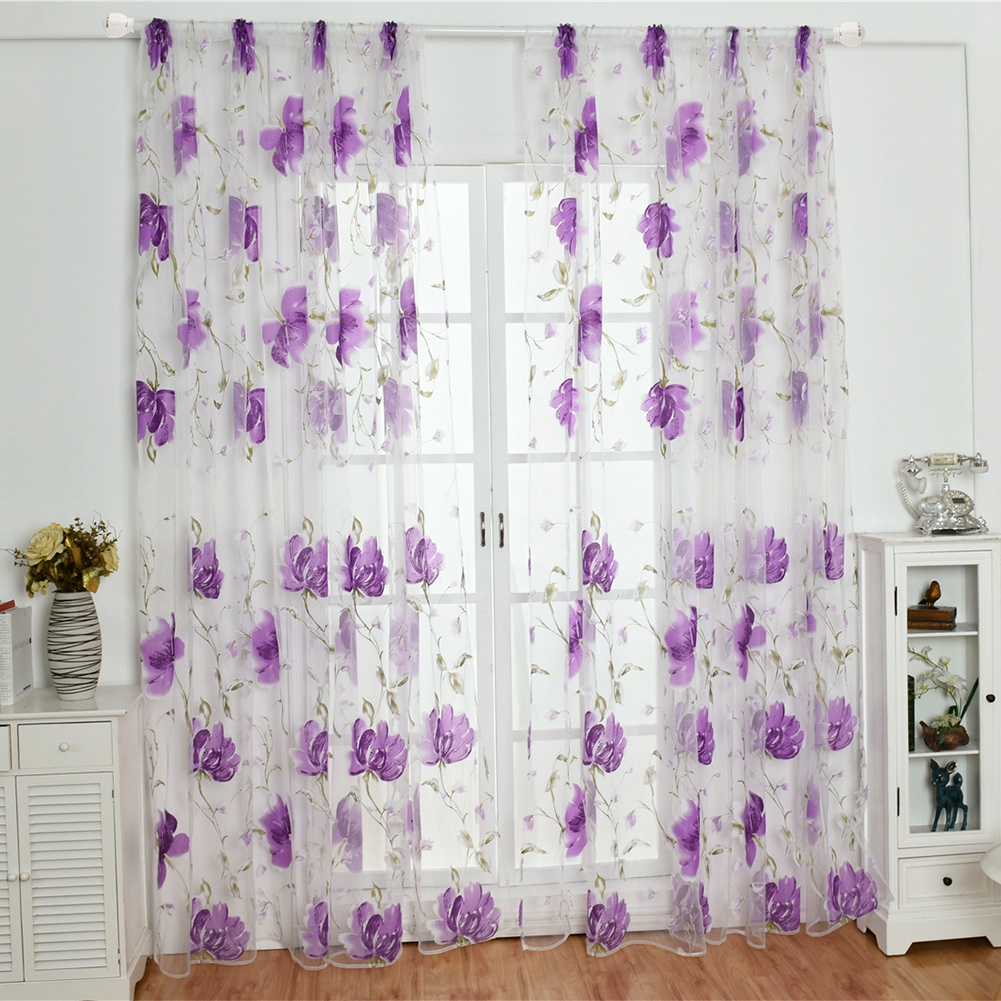 Retro-Window-Curtain-Tulle-Embroidery-Voile-Scarf-Transparent-Panel-Home-Decor thumbnail 14